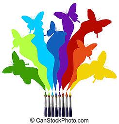 pintura, arco íris, borboletas, colorido, escovas