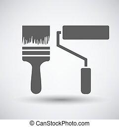 pintura, construção, escovas, ícone