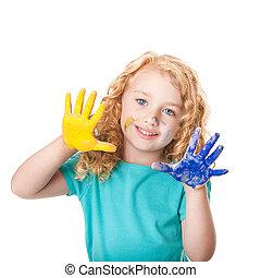 pintura, cores, tocando, mão