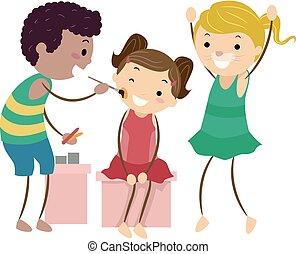 pintura, crianças, stickman, ilustração, rosto