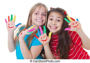 pintura, crianças, tocando, feliz