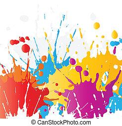 pintura, grunge, splats