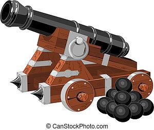 pirata, canhão, navio, antigas
