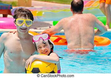 piscina, crianças