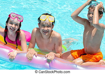 piscina, crianças, natação