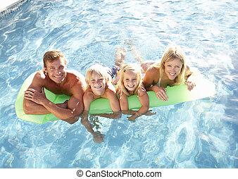 piscina, exterior, relaxante, natação família