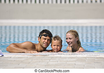 piscina, família, feliz, divertimento, ter, jovem