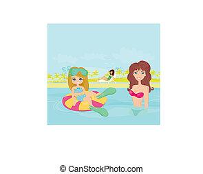 piscina, filha, mãe, natação