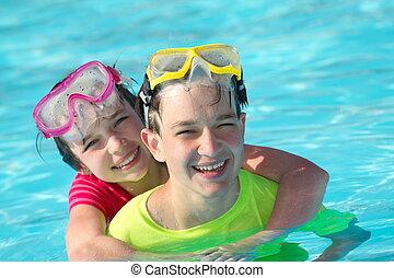 piscina, jogar crianças