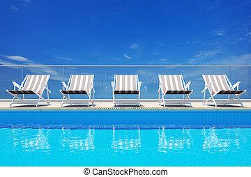 piscina, luxo, natação
