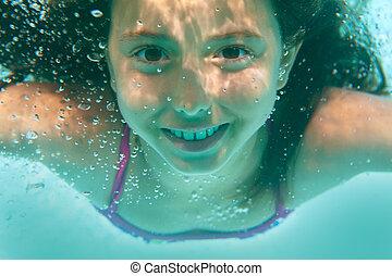 piscina, menina, natação subaquática
