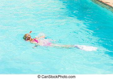 piscina, menininha, snorkeling, natação