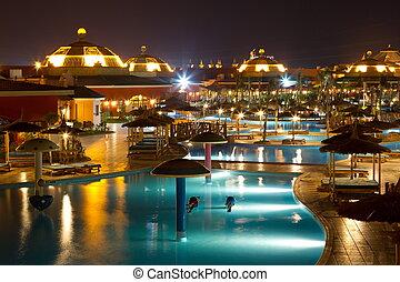 piscina, noturna, hotel