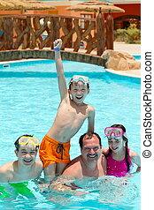 piscina, pai, crianças