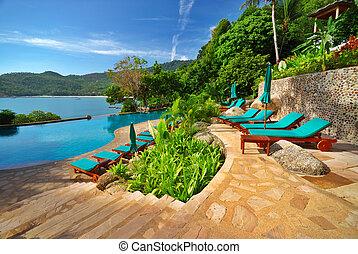 piscina, paraisos , área