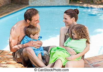 piscina, retrato, natação, ao lado, família, feliz