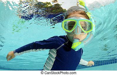 piscina, snorkeling, criança
