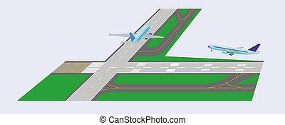 pista decolagem avião, decolagem