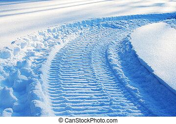 pista, snowmobile, neve