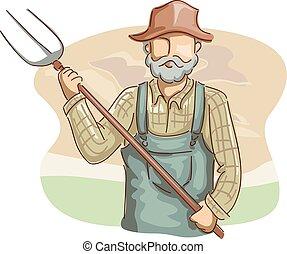 pitchfork, homem, agricultor