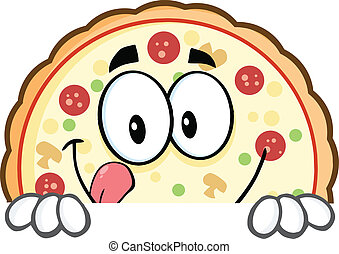 pizza, sinal, sobre, sorrindo