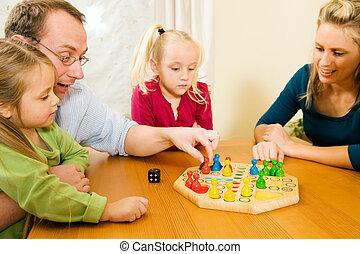 placa jogo, jogando, família