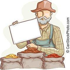 placa preço, grãos, agricultor