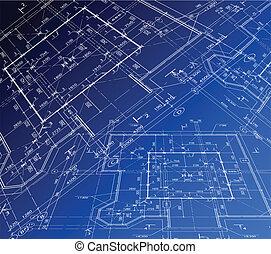 plan., casa, vetorial, blueprint