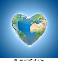 planeta, amor, conceito, 3d