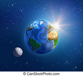 planeta, espaço, sol, profundo, luar, terra