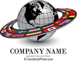planeta, globo, dinâmico, nacional, órbita, bandeiras, 3d, logotipo, terra