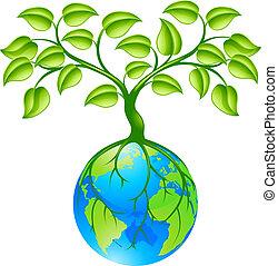 planeta, globo, terra, árvore