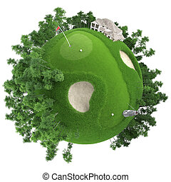 planeta, golfe miniatura