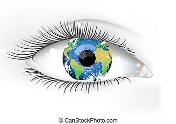 planeta, olho, terra, desaturated
