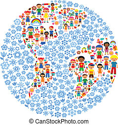 planeta, vetorial, crianças, ilustração, coloridos