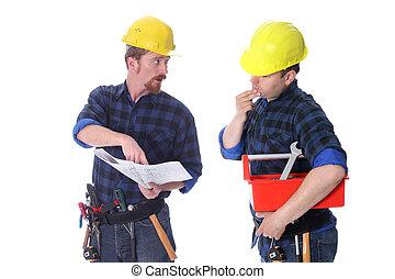 planos, construção, dois, trabalhadores, arquitetônico