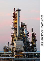 planta, óleo, gás, indústria, -, fábrica, refinaria, petrochemical, crepúsculo