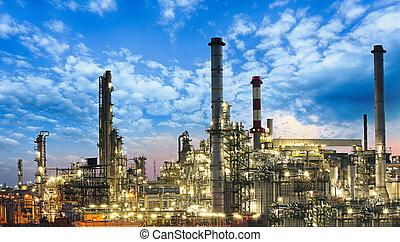 planta, óleo, gás, indústria, -, refinaria, petrochemical, fábrica