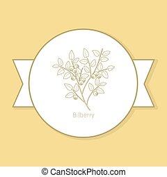 planta, amarela, etiqueta, billberry, medicina, desenho