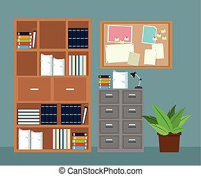 planta, escritório, aviso, gabinete, tábua, arquivo, potted, mobília