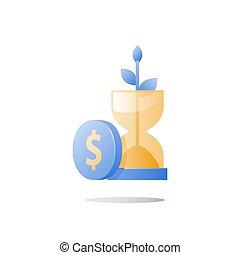 planta, financeiro, riqueza, caule, tempo, ampulheta, dinheiro, segurança, crescimento, pensão, fundo, renda, futuro, crescimento, confiança