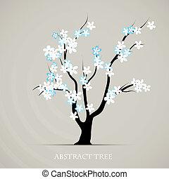 planta, gráfico, flor, abstratos, árvore, springtime, vetorial, fundo, art.