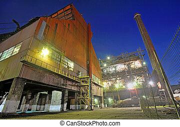 planta, indústria, noturna