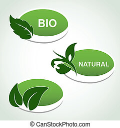 planta, natural, folha, -, símbolos, vetorial, adesivos