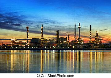 planta, petrochemical, tempo, noturna