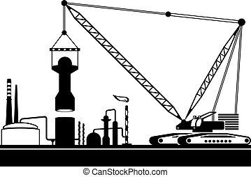 planta, torre, crawler, químico, guindaste, montagem