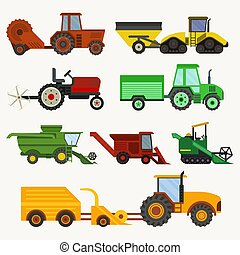 plantar, combina, jogo, harvester, mowing, arar, veículos, diferente, acessórios, máquina, vetorial, escavadores, agrícola, tipos, colher