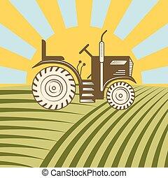 plantar, illustration., harvester, mowing, ou, máquina, vetorial, combinar, veículo, agrícola, arar, trator, colher