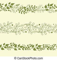 plantas, jogo, fundos, três, seamless, padrões, verde, horizontais