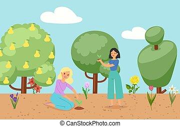 plantas, primavera, mulher, vetorial, illustration., capim, árvores, flores, florescer, caricatura, flores, jardim